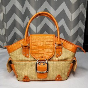 COLE HAAN Amanda Straw orange bag